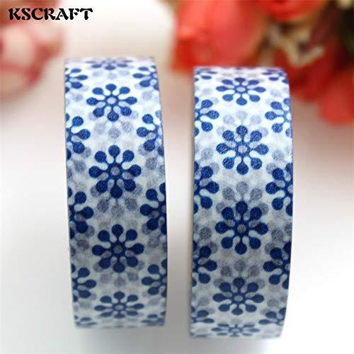 (Sacabocado Scrapbooking Reminisce Scrapbook Paper 15mm10m Adhesive Tape for Scrapbooking DIY Craft Sticky Deco Masking Japanese Paper Washi Tape Blue Snowflake)