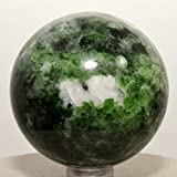 52mm Green Chrome Diopside Sphere Natural Sparkling Crystal Decor Ball Polished Mineral Gemstone - Russia + Plastic Stand