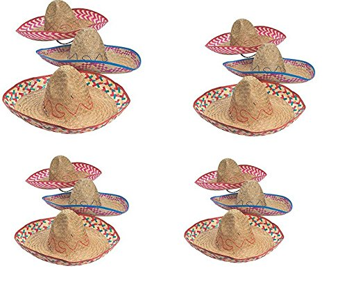 Embroidered Woven Straw Sombreros Hat – Pack of 12 Multicolor Adult Sombrero – Mexican Celebration Party Sombrero – Cinco De Mayo Party Sombrero – Universal Size for (Party Celebration Hat)