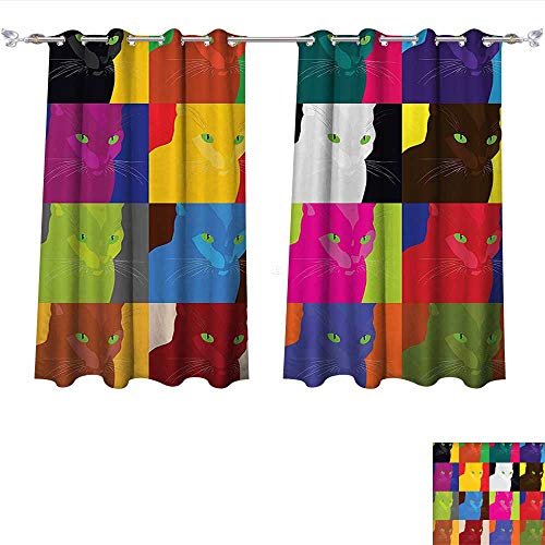 Blackout Curtains Panels for Bedroom Cat Decor Pop Art Style Featured Fractal Kitty Portraits Frame with Color Effects Artsy Print Multi Solid Ring Top Blackout Window Drapes W63