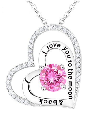 Forever Love Jewelry Gifts for Women Pink Tourmaline Necklace Engraved I Love You to the Moon and Back Hearts Birthday Anniversary Gift for Her Wife Sterling Silver Swarovski -