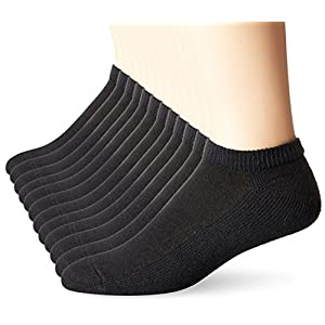 Hanes Men's 12 Pack Low Cut Socks, Black, 10-13/Shoe Size 6-12