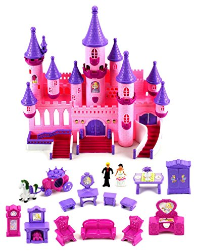 Fairy Princess Castle 24 Toy Doll Playset w/ Lights, Sounds, Prince and Princess Figures, Horse Carriage, Castle Play House, Furniture, (Disney Princess Playhouse)