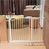 Child safety gates Baby Gate with Door 30 Inches Tall Pressure Mount Wall Protector Metal Gate for Tallways White Size  190-197cm