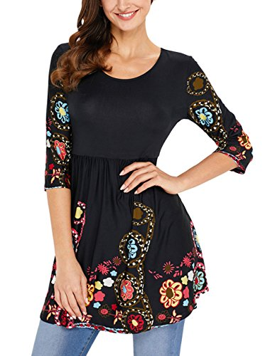 Ray-JrMALL Womens 3/4 Sleeve Tunic Round Neck Boho Floral Tunic Blouse Swing (3/4 Sleeve Floral Blouse)