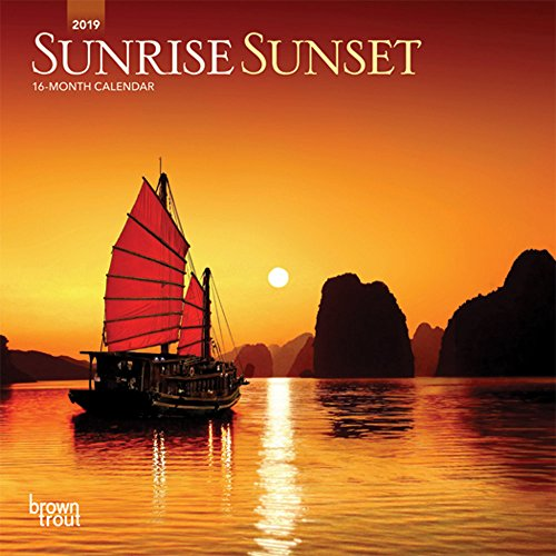 Sunrise Sunset 2019 7 x 7 Inch Monthly Mini Wall Calendar, Nature Photography Science (English, French and Spanish Edition)
