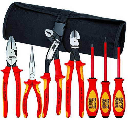 Knipex 989826US 7-Piece 1000V Insulated High Leverage Pliers, Cutters, and Screwdriver Commercial Tool Set (10 Piece Insulated Tool)