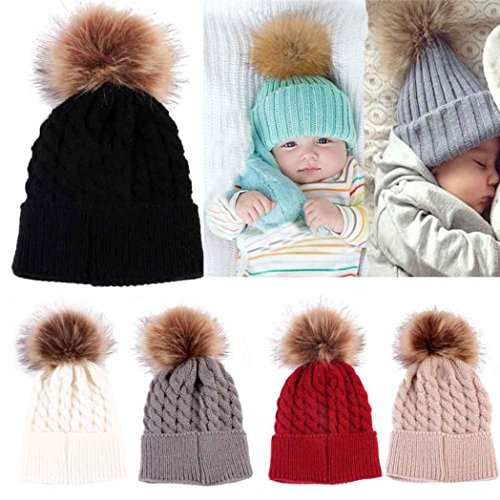 TrimakeShop Baby Infant Toddler Winter Crochet Hat Hairball Knitted Pom Beanie