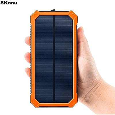 SKnnu Solar Charger Solar Power Bank 20000mAh Camping Charger w/ Compact Design, Dual USB,Camping Lantern,Rainproof (Orange)
