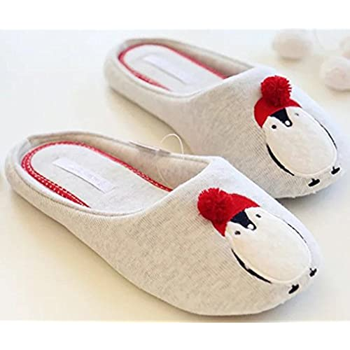 FreLO Women's Grey Cotton Penguin Comfortable Slipper Shoes Warm Slippers
