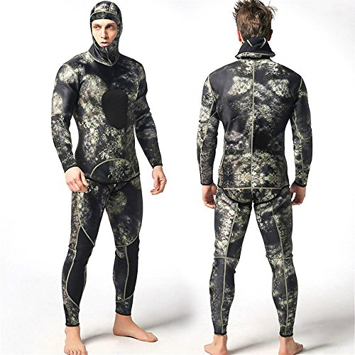 Isafish Camo Spearfishing Wetsuits for Man Two-Pieces Design Premium Neoprene 3mm with Super Stretch Armpit for Diving Snorkeling Swimming Fishing Mimetic Camouflage Freediving Full Wetsuit Size L