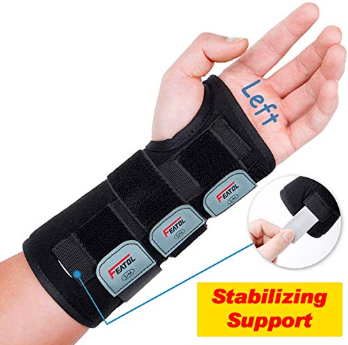 Wrist Brace for Carpal Tunnel, Adjustable Wrist Support Brace with Splints Left Hand, Small/Medium, Arm Compression Hand Support for Injuries, Wrist Pain, Sprain, Sports