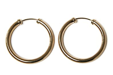 9ct Gold 20mm Hoop Sleeper earrings aKT82