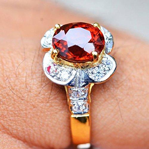 18.64ct Natural Oval Orange Hessonite Garnet 925 Gold Silver Ring 7US #R by Lovemom (Image #4)