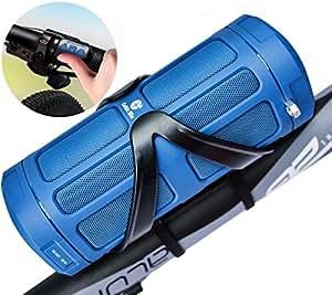 Bluetooth Speaker System by Celtic Blu - 16W 100ft Range w/ Surround Sound - Comes w/ Built-In Power Bank, TF Slot, FM, Bike Cage & Remote (Blue)