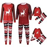 Iuhan Christmas Family Pajamas Deer Cartoon Print Tops Pants Family Clothes