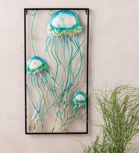 Wind & Weather Handcrafted Metal Jellyfish Wall Art with Capiz Accents - 12.25 W x 24 H x 1.25 D