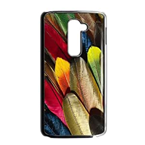 Colorful Peacock Feather LG G2 Cell Phone Case Black LMS3881247