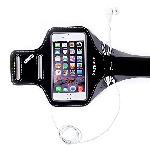 Saygoer Sweat-Proof Armband for iPhone 7 Plus/6s Plus/6 Plus, Galaxy S7 Edge/J7, MOTO Z, HTC Desire 816 with Key Holder Earphone Velcro Screen Protector, Black