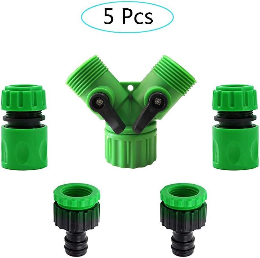 Válvula de Doble Salida para Grifo jardín, Conector de Grifo de 2 mangueras 2 en 1 [1/2 Pulgada (21 mm) y tamaño de 3/4 de Pulgada (26, 5 mm)], 2 mangueras Conexión rápida de Extremo de 1/2