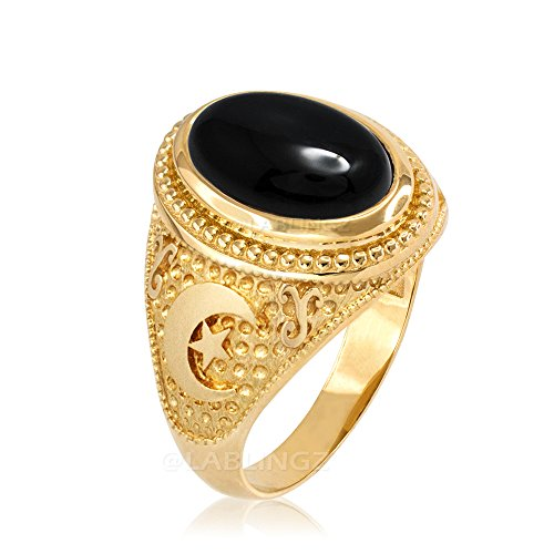 14K Yellow Gold Islamic Crescent Moon Black Onyx Ring (7.75)