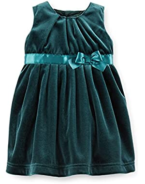 Baby Girl Velvet Dress-Satin Bow-Lined-Diaper Cover (3M, Green Velour)