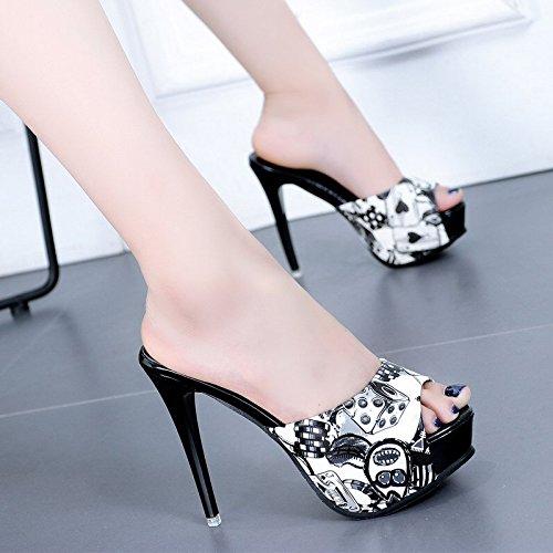 HBDLH Damenschuhe Sommer 12Cm Hochhackigen Schuhe Schuhe Schuhe Mode und Coole Schuhe Wasserdichte Plattform mit Einem Wort Ziehen 59f3fc