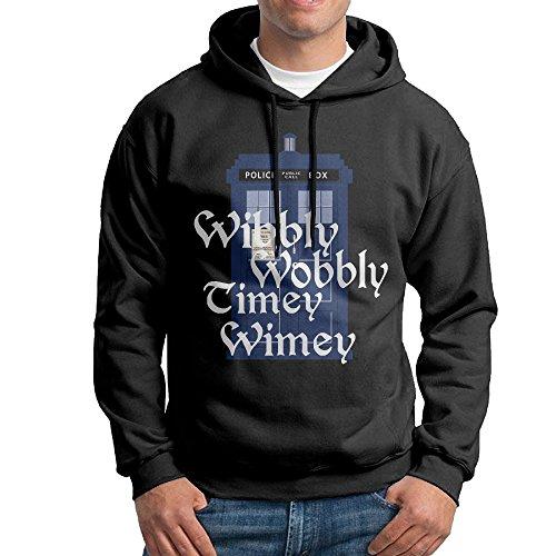 Wobbly Man Costume (ROTATEL Mens Doctor Parody Wibbly Wobbly Timey Wimey Cool Hoodie Hooded Sweatshirt Size L Black)