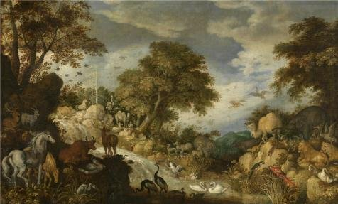 'Roelant Savery,Bird's Paradise,1576-1639' Oil Painting, 20x33 Inch / 51x84 Cm ,printed On High Quality Polyster Canvas ,this Reproductions Art Decorative Prints On Canvas Is Perfectly Suitalbe For Powder Room Gallery Art And Home Artwork And Gifts