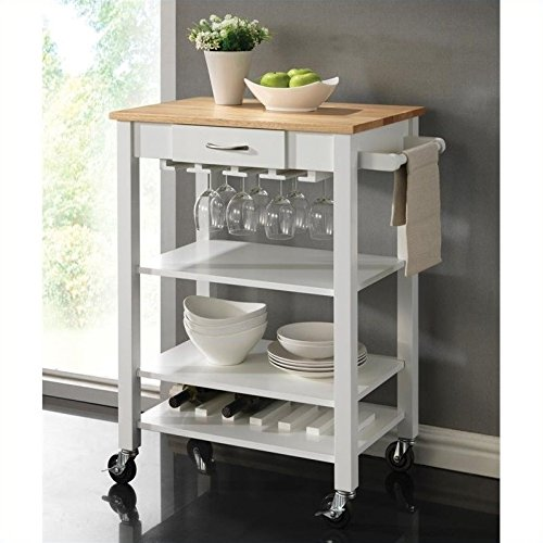 (Coaster Home Furnishings Kitchen Cart with Butcher Block Top Natural Brown and White)