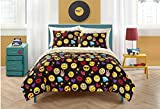 Twin Size Emoji Bed in a Bag 5 Piece Colorful Emoji Pals Motif Bed In A Bag Set Twin/Twin XL Size, Featuring Hearts Lips Stars Diamonds Design Comfortable Bedding, Contemporary Playful Novelty Kids Unisex Bedroom, Yellow, Black