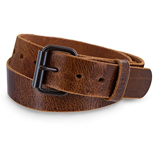 Hanks Rustic Men's Jean Belt -No Break Thick Leather Belt - USA Made - 100 Year Warranty - Glazed Sunset Brown - Size 32
