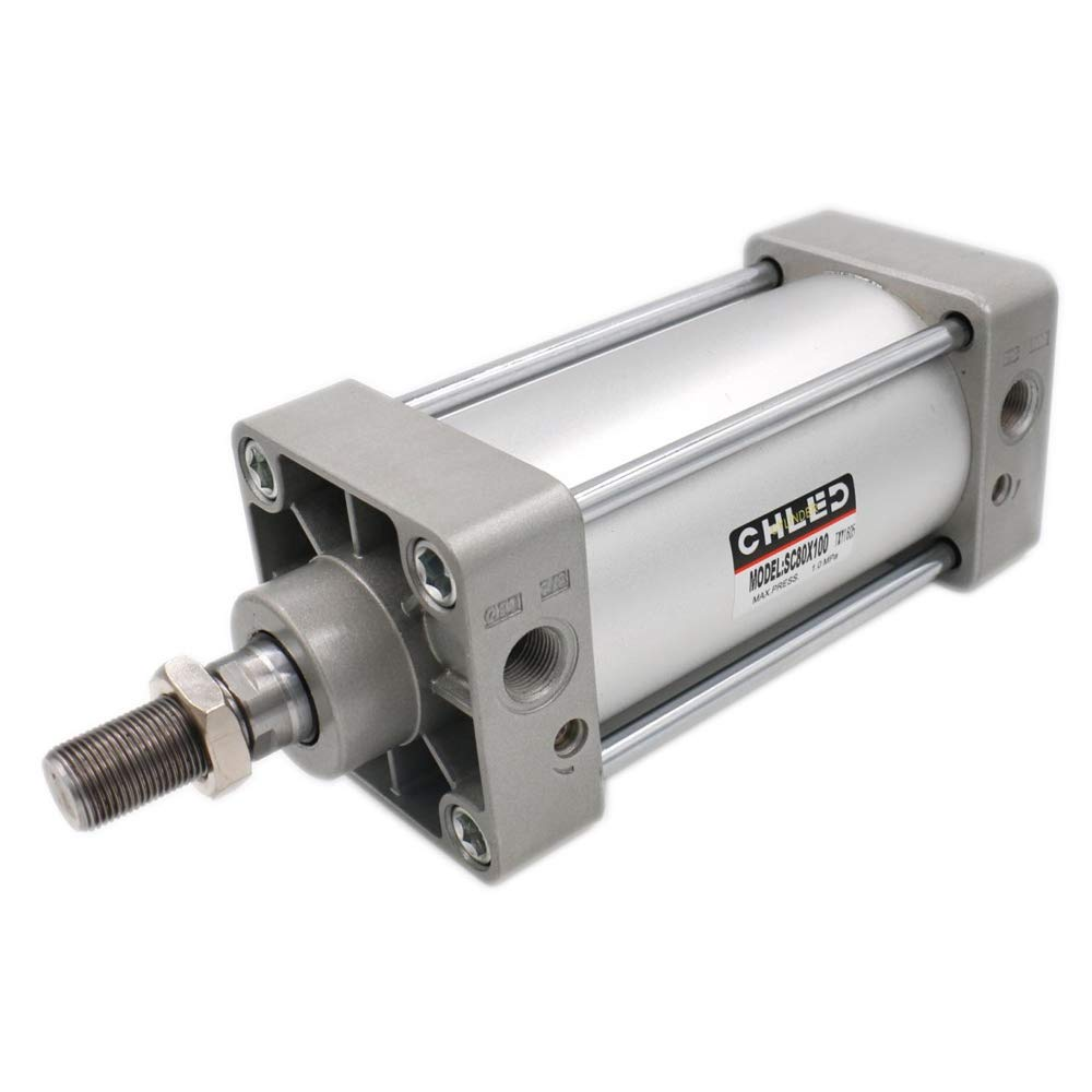 Woljay Pneumatic Air Cylinder SC 80 x 100 PT 3/8 Screwed Piston Rod Dual Action Bore: 80mm Stroke: 100mm