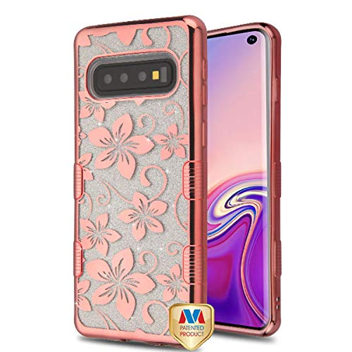 Electroplating Rose Gold Hibiscus Flower (Transparent Clear) Full Glitter TUFF Hybrid Protector Cover (with Package) for Samsung Galaxy S10