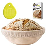 Banneton Proofing Basket Set - Round Brotform 10 Inch Kit - Removable Cloth Linen Liner - Natural Cane Rattan Bowl - Ideal for Dough Rising and Crispy Artisan Bread Boules - eBook - Instructions