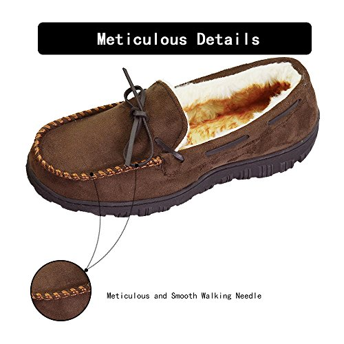 VLLY Men's Leather Casual Pile Lined Microsuede Indoor Outdoor Slip On Moccasin Slippers Size 10 Dark Brown (FBA) by VLLY (Image #3)