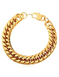 U7 Hip Hop 12MM Wide Big Chain American Style Men Link Bracelet Stainless Steel Base Jewelry