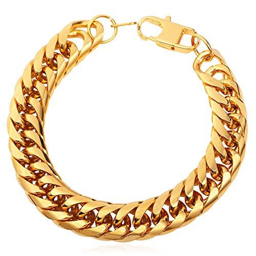 Bracelet Link Chunky (U7 Franco Curb Link Bracelet, 6mm 9mm 12mm wide (12mm wide gold))