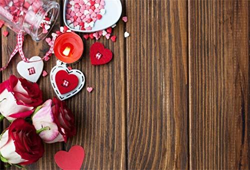 (CSFOTO 6x4ft Background for Sweet Heart Candy Rose on Rustic Wood Photography Backdrop Valentine Day Surprise Gift Candle Romantic Date Day Celebration Photo Studio Props Polyester Wallpaper)