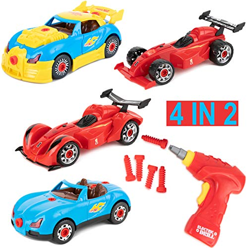 Toy To Enjoy 4 in 1 Build Your Own Racer Car Set - 53 piece Take A-part Play Toy w/ Real Sound & Lights - Great Gift Idea for Boys and Girls Batteries Included
