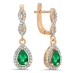Emerald Gemstone & Round White Diamond Teardrop Earrings