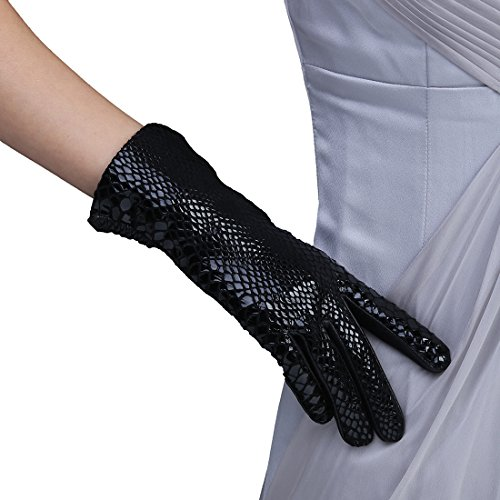 LissomPlume 蛇皮 個性豊か スマホ 手袋 レディース レザー手袋 革 裏起毛 冬 保温 暖かい アウトドア タッチパネル グローブ