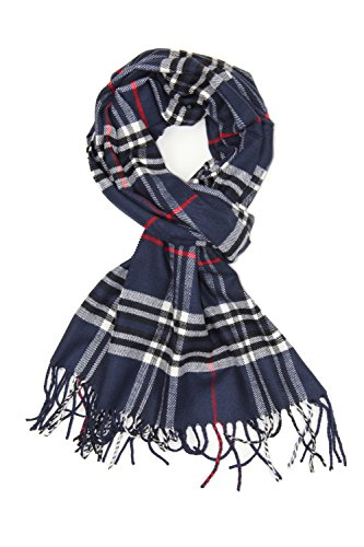 (Achillea Classic Plaid Check Cashmere Feel Winter Scarf (Navy Plaid))