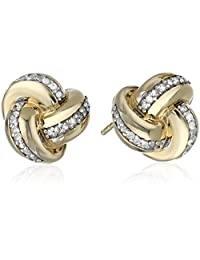 10k Yellow Gold-Plated Sterling Silver Diamond Knot Earrings (1/4 cttw, J Color, I3 Clarity)