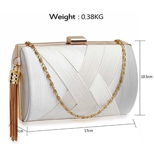 Xardi London Satén (talla M, bailes Clutch Baguette compacto Duro mujeres noche bolsas White Style 2