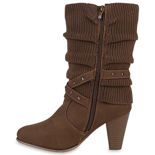 Stiefelparadies Klassische Damen Schuhe Stiefel Gefüttert Stulpen Wildleder-Optik Schuhe Flandell Taupe