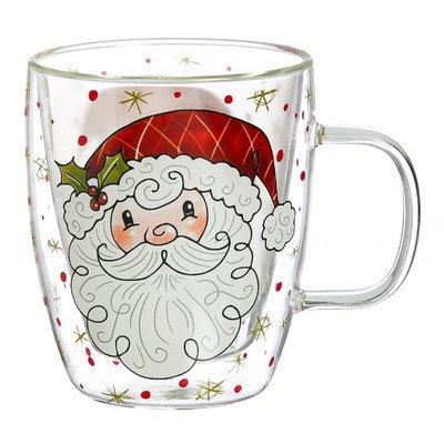 Cypress Home Santa Glass Coffee Cup, 12 ounces