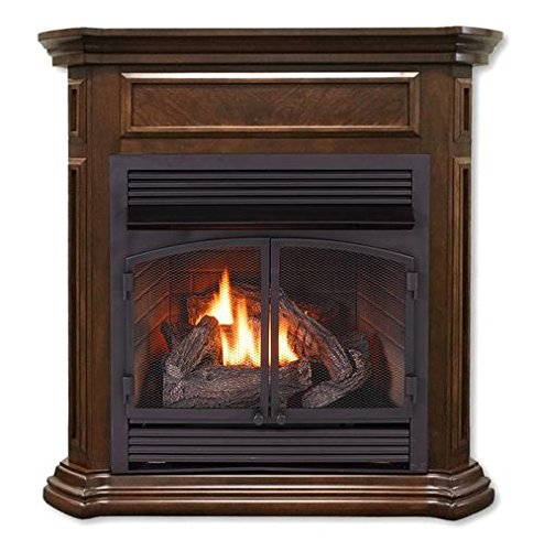 Duluth Forge FDF400RT-ZC Dual Fuel Ventless Fireplace-32,000 BTU, Remote Control, Nutmeg