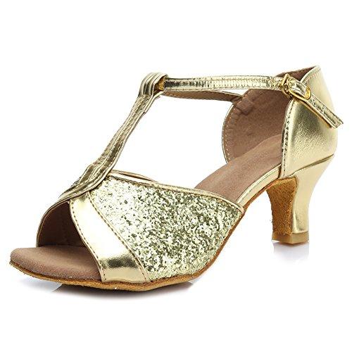 HROYL femenino ES7-F59 el Rosa sat¨ªn latino la danza el zapato 37 uja839ScpI