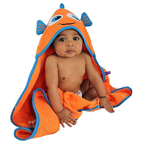 (SOZO Fish Hooded Baby Bath Towel, Orange )